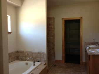 Master bath tub, walk-in shower, walk-in closet