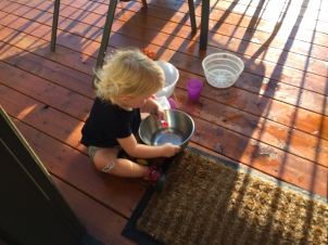 Pouring water on the deck - great fun