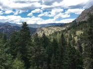 The view near the Estes Park welcome sign on Hwy 36
